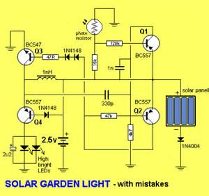 solar garden light circuit there are a number of mistakes in the circuit above and a