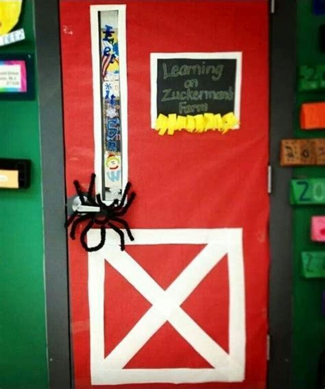 farm themed classroom decorations what a nifty classroom door decoration for charlottes web