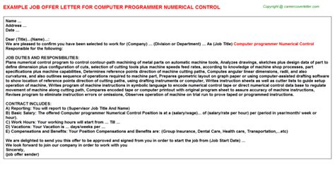 Numerical Tool Programmer Cover Letter by Computer Programmer Numerical Offer Letter Sle
