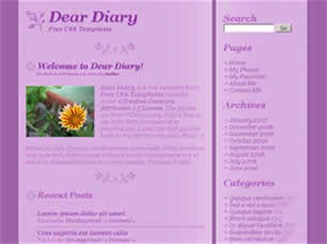 dear diary template dear diary free website template free css templates