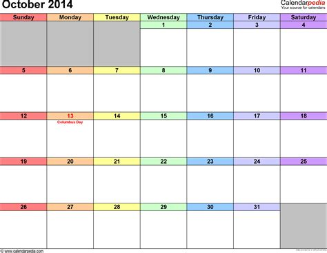 october 2014 calendar template october 2014 calendars for word excel pdf