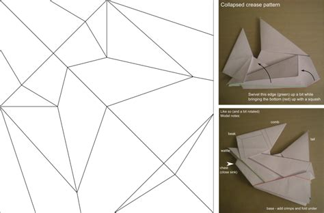 Crease Pattern Origami - origami chicken hat crease pattern by cahoonas on deviantart
