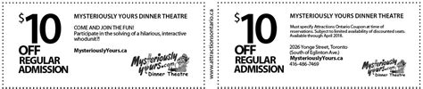 haircut coupons toronto mysteriously yours dinner theatre coupon attractions