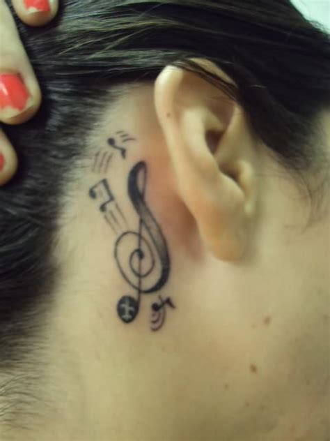 music note tattoo behind ear ear