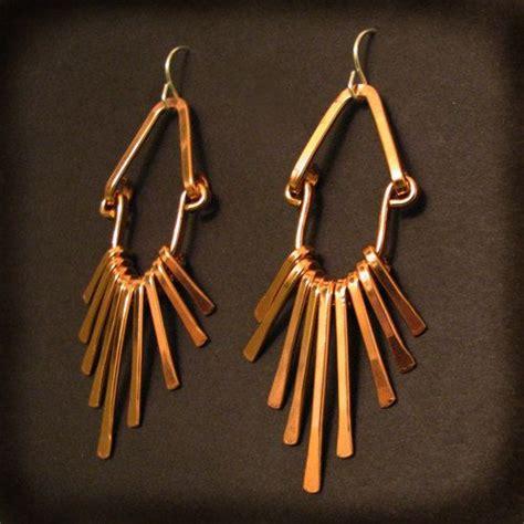 Handmade Copper Earrings - copper fringe earrings handmade tribal flare copper