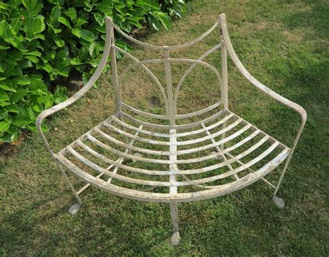 curved garden bench cover shabby white painted wrought iron curved bench seat with