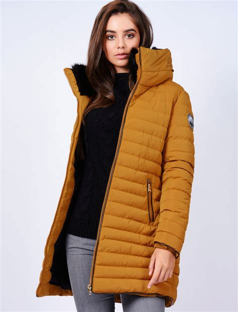 Puffer Coat elva longline quilted puffer coat in mustard tokyo