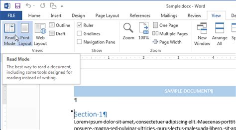 reading layout view definition how to customize and use the read mode in word