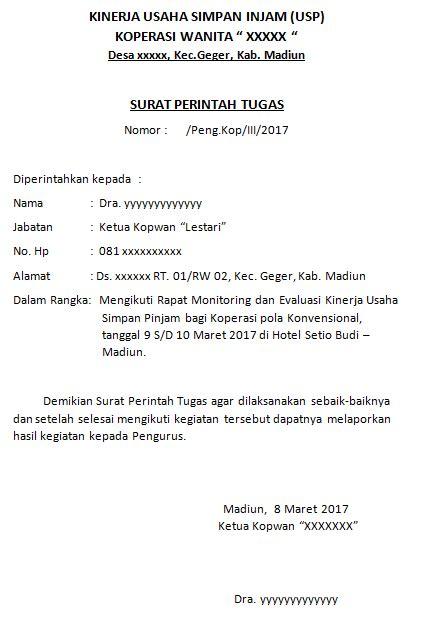 Contoh Surat Tugas Pns by Contoh Surat Perintah Tugas Koperasi Wanita Kopwan Rapat
