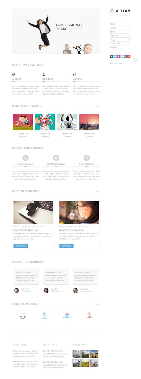 theme blog html5 a team minimal responsive html5 blog template by jewel
