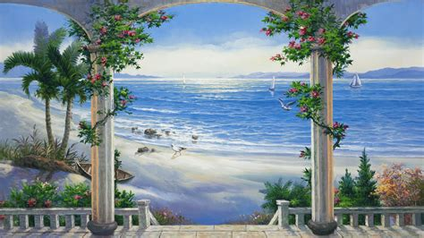 awesome home garden painting share on facebook imagefullycom beach murals walldevil