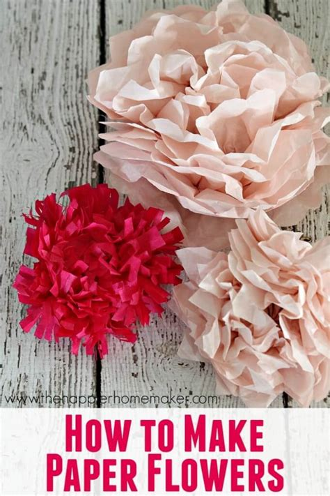 How To Make A Flower Using Tissue Paper - easy diy tissue paper flower bouquet the happier homemaker