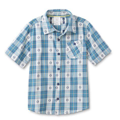 tribal pattern button up shirt toughskins boy s button front shirt plaid tribal