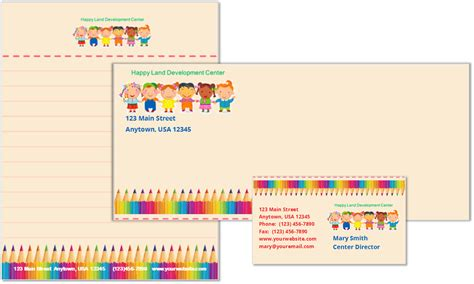 Buisness Cards Aand Templates For Child Care by Child Care Stationery Set Template 11 Child Care Owner