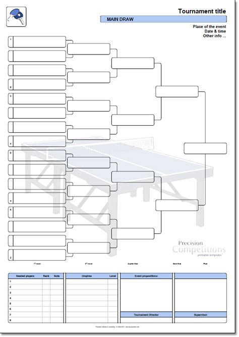 table tennis tournament template precision competitions printable templates precision
