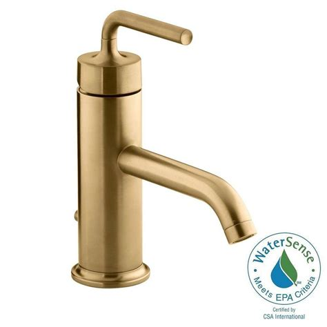 gold faucets bathroom kohler purist 1 hole single handle low arc bathroom vesesl