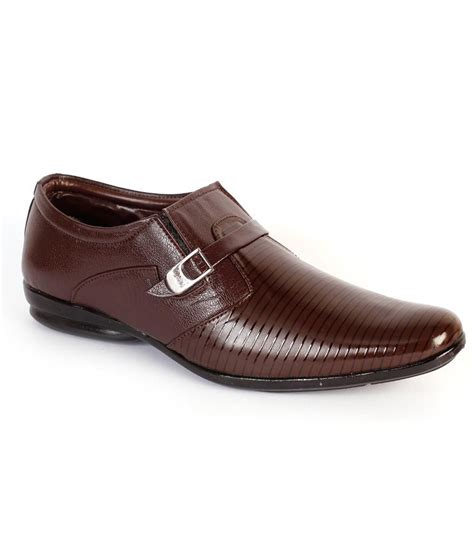 shoes n style brown slip on non leather formal shoes price