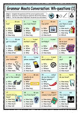 Conversational Elementary 1 51 free esl wh questions worksheets