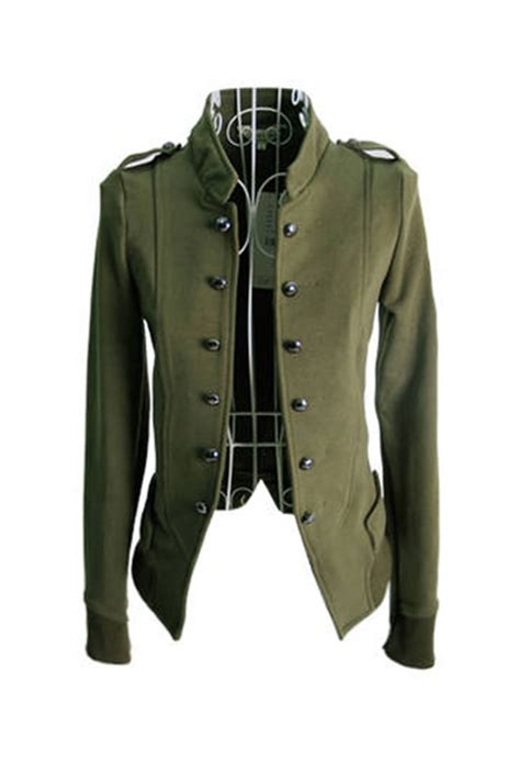 Loong Neck Jaket Army fashion o neck sleeve single breasted army
