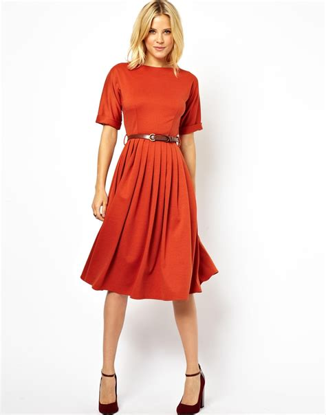 asos midi dress with skirt and belt in blue lyst