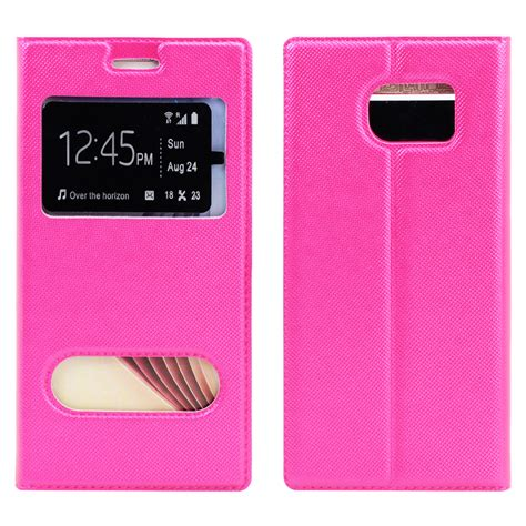 Zagbox Flip Cover Samsung Galaxy S6 Edge Pink wholesale samsung galaxy s6 edge slim window view magnetic flip leather pink
