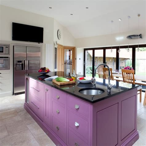 Painted Kitchen Islands Plum Painted Kitchen Island Painted Kitchen Design Ideas Decorating Housetohome Co Uk