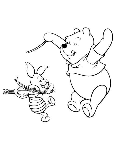 winnie the pooh and piglet orchestra music coloring page