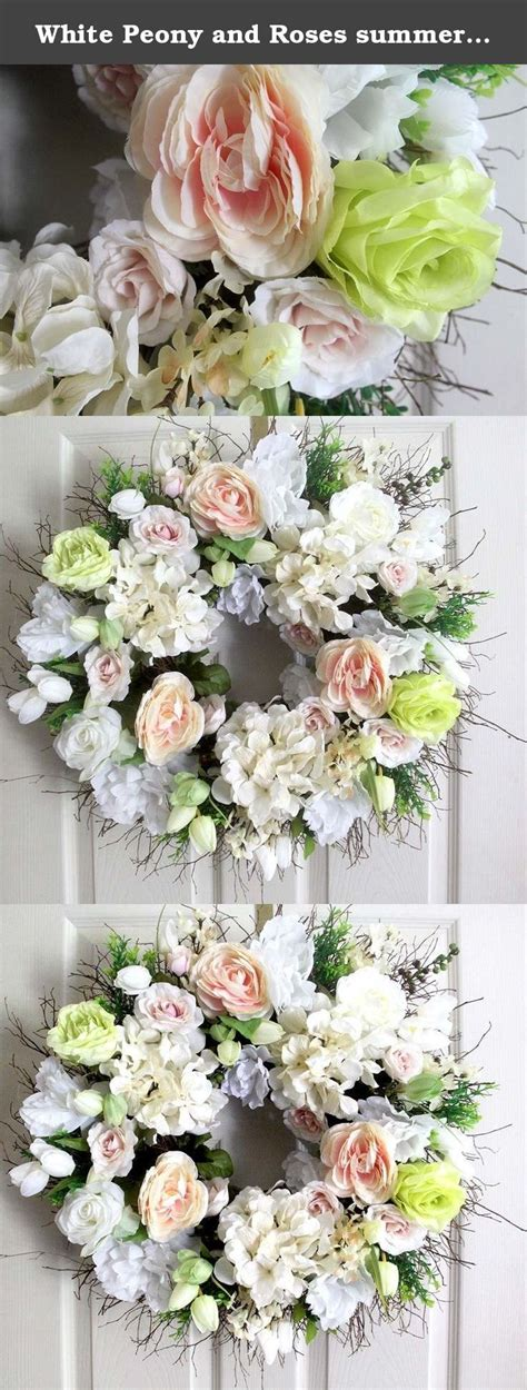 white peony  roses summer wreath  front door