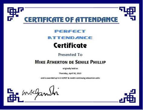 perfect attendance certificate template word excel