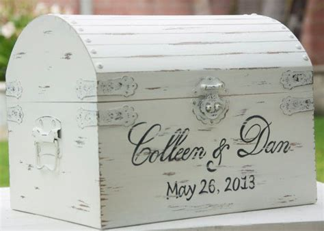 large vintage shabby chic wedding card box with card