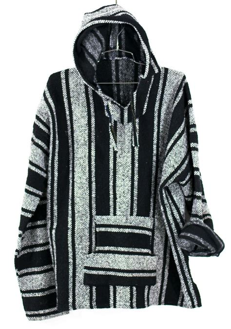 fabric pattern poncho baja surf poncho vintage 90s mexican hoodie sweater unisex