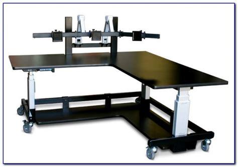 Desks For Monitors by L Shaped Desks For Monitors Desk Home Design