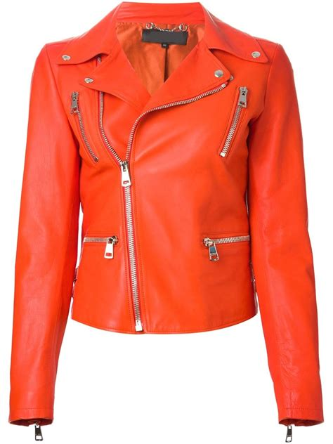 Jacket Orange arrow womem orange biker leather jacket 798798ou