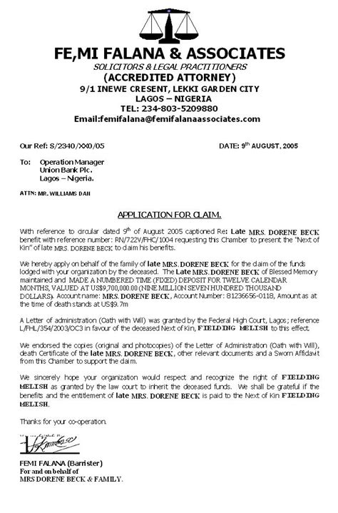 Evaluation Letter Nigeria appealing industries femi falana