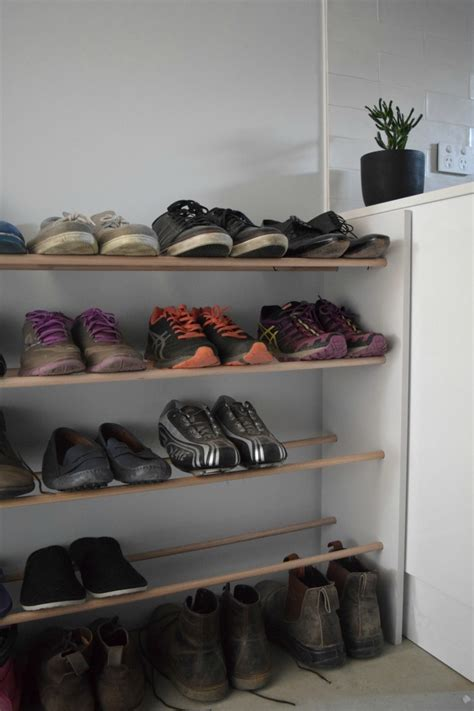 make your own shoe storage before and after shoe storage gets a makeover with