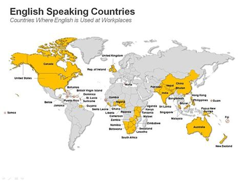 official speaking countries this ppt slide set showing speaking countries map