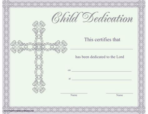 This Beautiful Religious Certificate Of Child Or Baby Dedication Is Illustrated With A Lacy Free Religious Card Templates