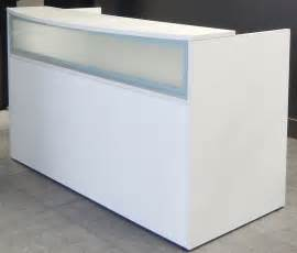 Modern Office Reception Desk Rectangular White Reception Desk W Frosted Glass Panel