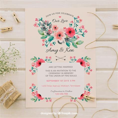 vintage flowers wedding invitations vector vintage wedding invitation with watercolor flowers vector