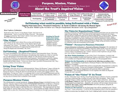 purpose mission vision goals trust as example