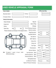car form template 7 sle car appraisal forms sle exle format