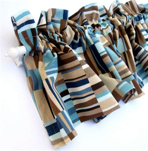 Blue And Brown Kitchen Curtains Focus Valance Curtains Brown Blue Teal Stripes 53 Inches