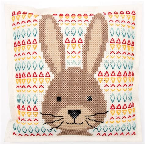 rico design embroidery kits embroidery kit rico design cushion rabbit