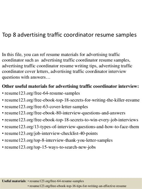 Advertising Traffic Manager Sle Resume by Top 8 Advertising Traffic Coordinator Resume Sles
