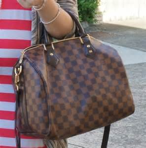 Gold Monogram Initial Necklace Away From Blue Dresses Louis Vuitton Speedy Bandouliere Bag In Damier Ebene