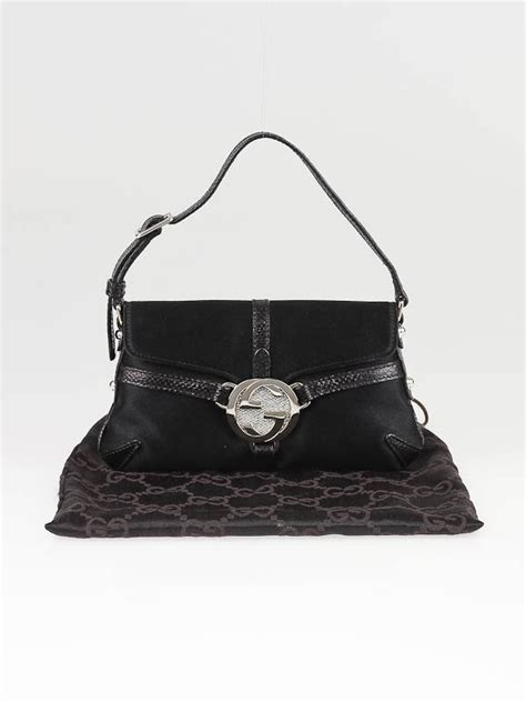Gucci Evening Bag by Gucci Black Satin And Gg Pochette Evening Bag