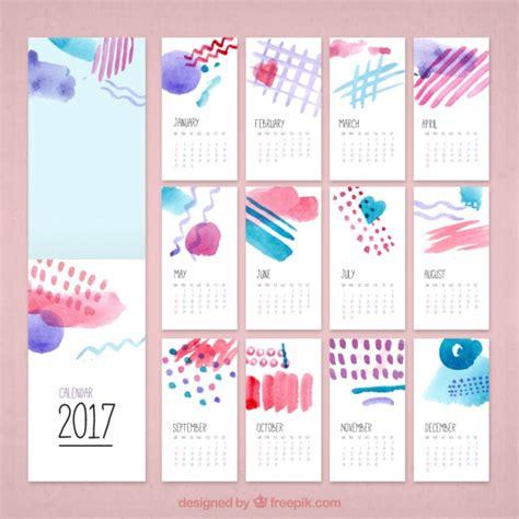 creative calendar template watercolor creative calendar 2017 vector free