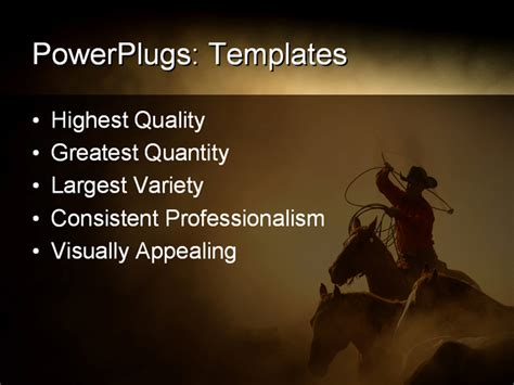 best powerpoint template cowboy in the desert chasing