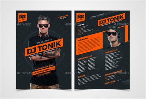 prodj dj press kit rider resume psd template by