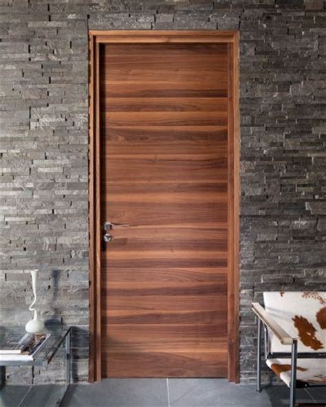 Flush Interior Wood Doors Flush Horizontal Grain Wood Door Creates The Focus Juxtaposed With The Wall And The Cow